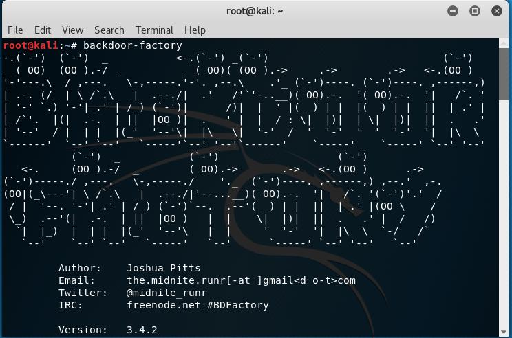 Kali Linux: Backdoor-factory tool   Vero's Blog
