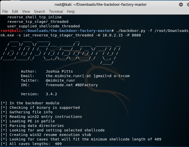 Kali Linux: Backdoor-factory tool | Vero's Blog